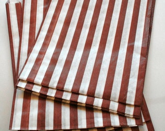 Set of 100 - Traditional Sweet Shop Brown Candy Stripe Paper Bags - 5 x 7 New Style