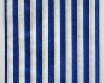 Set of 100 - Traditional Sweet Shop Blue Stripe Paper Bags - 10 x 14 New Style