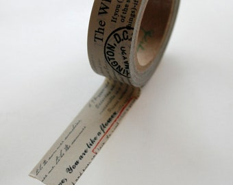 Washi Tape - 15mm - Text on Grey - Deco Paper Tape No. 391