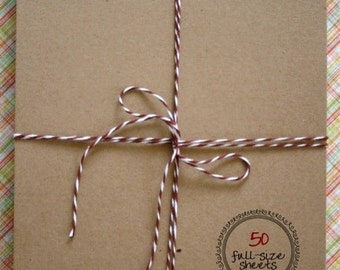 Full Sheet - 8 1/2 x 11 Inches - Kraft Recycled Chipboard Paper - set of 50 - Crafting or Letterpress or Stamping