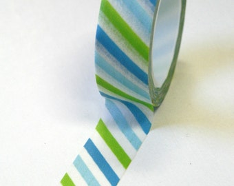 Washi Tape - 15mm - Lime Green Baby Blue Bright Blue and White Diagonal Stripe - Deco Paper Tape No. 544