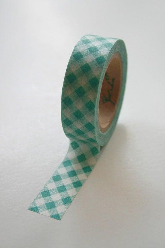 Washi Tape - 15mm - Deep Aqua Teal Diagonal Gingham - Deco Paper Tape No. 75