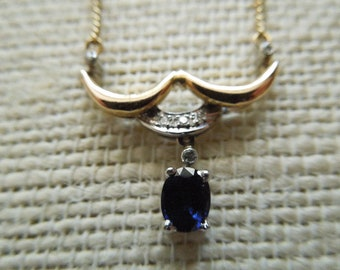Vintage Italian Gold Sapphire and Diamond Necklace