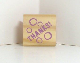 Thank You with bubbles Rubber Stamp