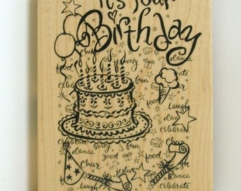 PSX It's Your Birthday Background Rubber Stamp