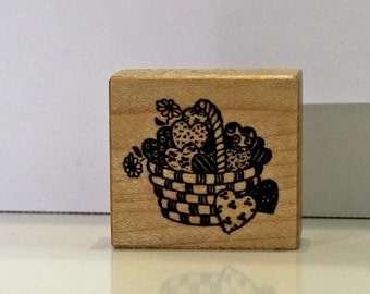 Basket of Hearts Rubber Stamp PSX Rare Valentines