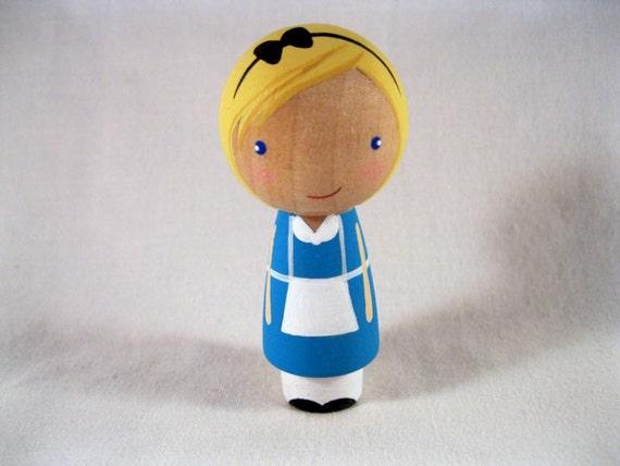 Alice finds Wonderland Kokeshi Peg Doll