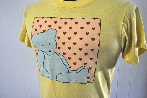 Vintage Teddy Bear Tee Hearts Cute 80s 90s Retro Kitsch Summer Screen Stars TShirt MEDIUM