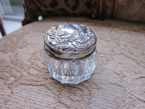 Antique Sterling Silver Glass Dresser Jar