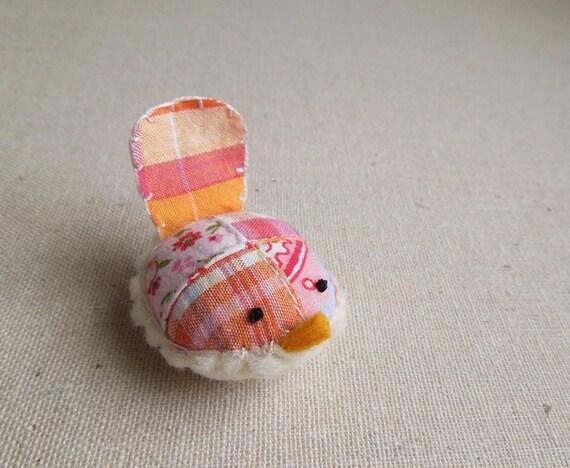 Handmade Decorative Wren in Bright Pink Patchwork