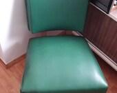 Vtg 50s Atomic Green Vinyl Slipper Chair Mid Century Modern