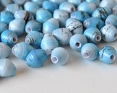 Winter Sky Hand Rolled Paper Beads