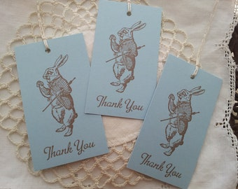 Alice in Wonderland Im Late Rabbit Thank You Tags Set of 8