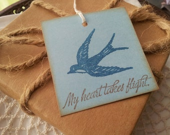 My Heart Takes Flight Wedding Bridal Shower Love Tags Blue Bird Set of 6