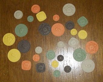 Embossed Diecut Paper Buttons for Cards & Scrapbooking