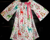 Reindeer Dress, Christmas dress, pink dress, girl dress, pageant dress, FREE SHIPPING