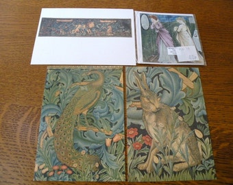 William Morris Set of 3 Postcards and one Card from V&A Museum London