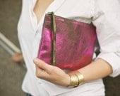Pink  Metalic Leather  Clutch 8.5 inch