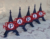 Eiffel tower place setting initial or number - set of 5