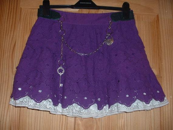 Low Waist Hip Hugging Purple Mini Steampunk Wench Skirt REDUCED