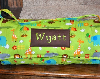 Nap Mat -  Monogrammed Bungle Jungle in Lime Green Nap Mat with Brown Double-sided Minky or Minky Dot Blanket