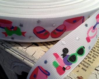 "7/8""GIRLY GLAM Metallic and Multi colored  Grosgrain Ribbon sold by the yard"