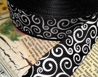 "3 Yards 7/8"" Black and White SWIRL MOTIF Halloween Grosgrain Ribbon"