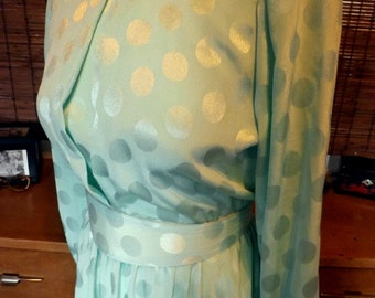 Vintage 80s does 40s Mint polka dot Brocade Belted Midi Dress M Free shipping