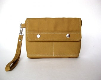 BLACK FRIDAY - Fabric Wristlet Clutch, handbag, pouch, gadget case - The New Innocence Wristlet Clutch in tan - beige