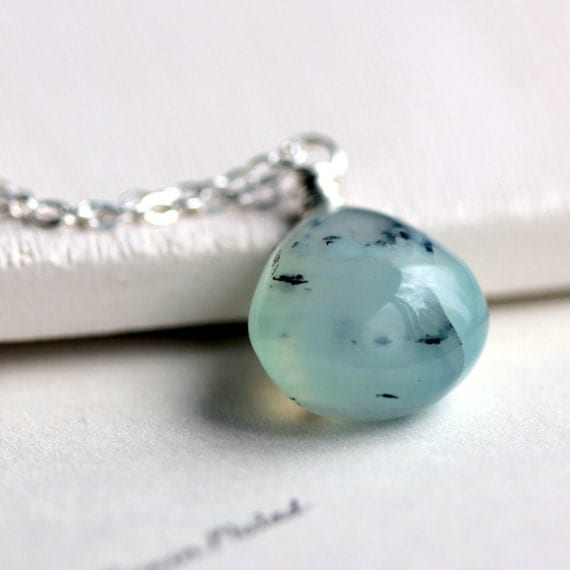Peruvian Blue Opal Necklace on Sterling Silver Chain - Aviary
