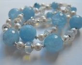 LilLizaJane jewellery - chalcedony, opalite and pearls necklace and earring set