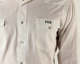 Vintage Mens Shirt Western White Pearl Snap Buttons Long Sleeve Medium