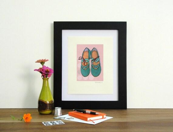 SALE! teal and aqua vintage high heels illustrated art print, buy one get one free
