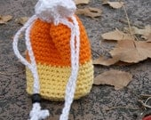 Handmade Crocheted Easy Going Bag Wristlet Pouch Purse Candy Corn