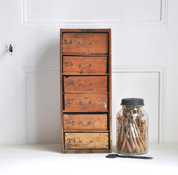 vintage set of rustic wooden drawers