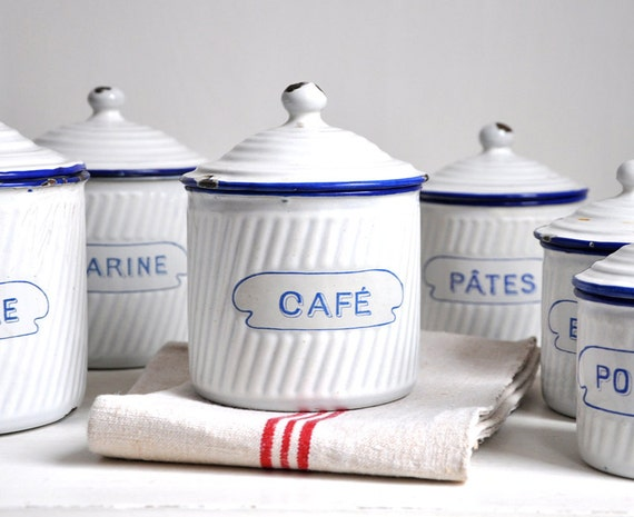 Antique French Kitchen Canister Set