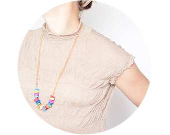 Long Statement Chain Necklace Colorful Jade Multicolor Gold Boho Glam Bohemian fashion