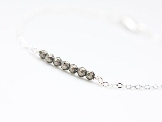 Pyrite Bracelet Modern Minimalist jewelry minimal chic neutral silver gray