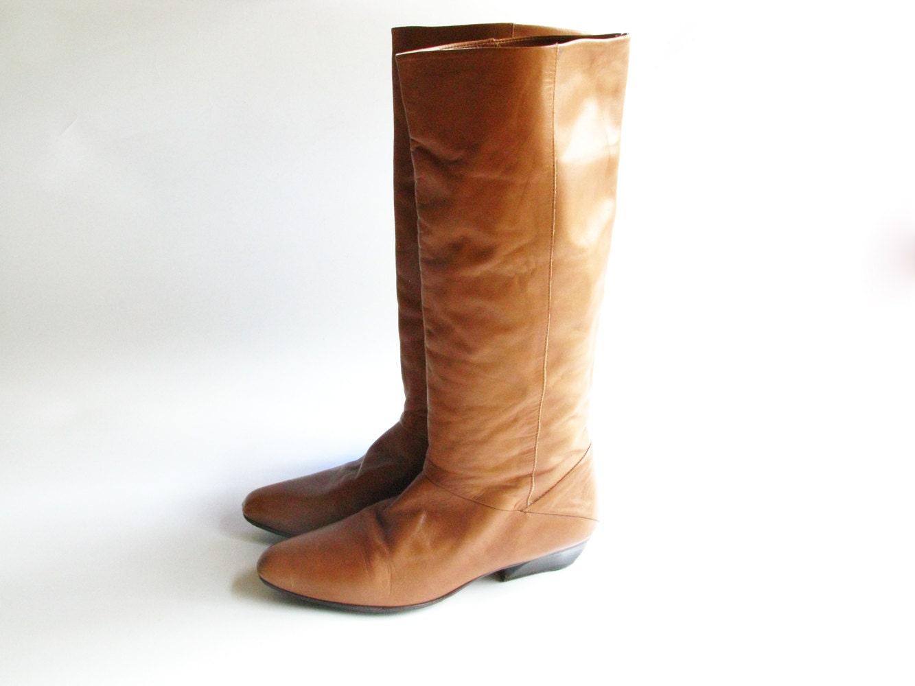vintage nine west brown leather boots size 8