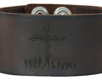 Leather SURRENDER Bracelet/Cuff
