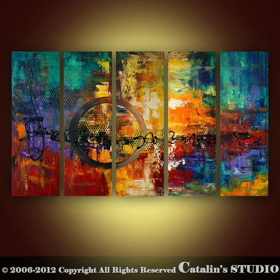 Abstract Modern Palette Knife Painting Original Art by Catalin 50x30 Large