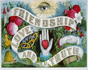"""Antique Masonic Print """"Friendship Love and Truth"""" Steampunk Gothic Victorian Gypsy Circus Carnival Art - Spooky Eye Anatomical Heart Occult"""