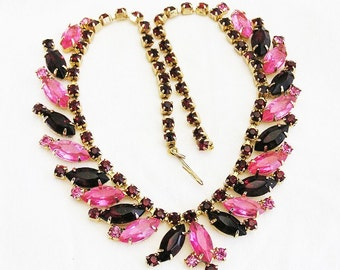Pink and Dark Ruby Red Rhinestone Necklace
