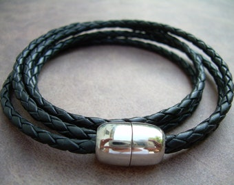 Mens Black Braided Double Wrap Leather Bracelet with Stainless Steel Magnetic Clasp, Mens Bracelet, Mens Jewelry