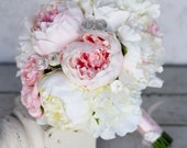 Silk Bride Bouquet Peony Peonies Shabby Chic Diamond Accents Wedding