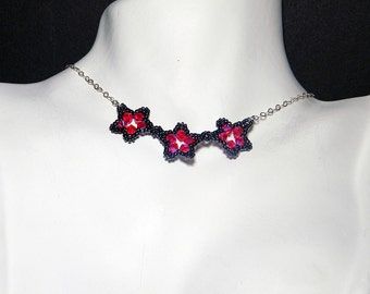 "Hot Pink Swarovski Crystal Beaded Star Necklace Beadweaving Sterling Silver - ""Une Étoile"""