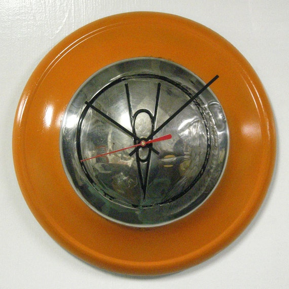 1936 Ford V8 Hubcap Wall Clock - Classic Car Decor - Orange