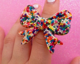 Sprinkle Bow Ring (Adjustable)