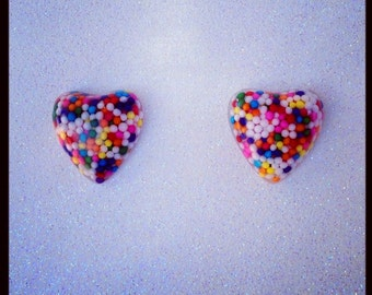 Miniature Sprinkle Heart Earrings (Surgical Steel Posts)