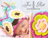 Chunky Flower Owl  Hat and Cocoon Set for Babies - Made to ORDER